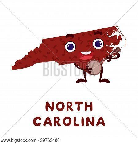 Cute Cartoon North Carolina State Character Clipart. Illustrated Map Of State Of North Carolina Of U
