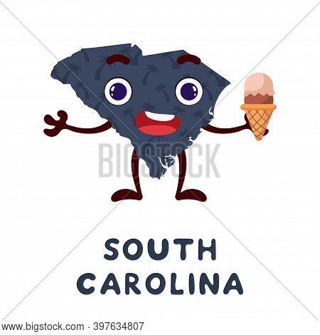 Cute Cartoon South Carolina State Character Clipart. Illustrated Map Of State Of South Carolina Of U