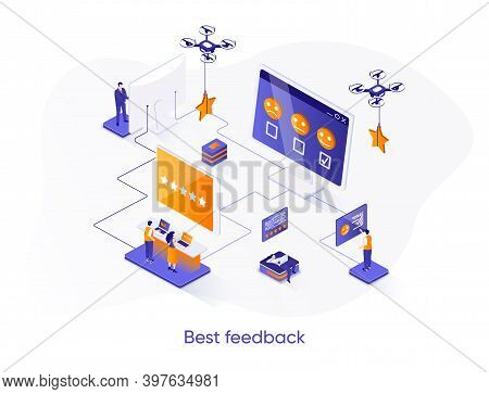 Best Feedback Isometric Web Banner. Online Customers Opinion, Rating And Review Isometry Concept. So