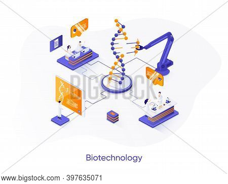 Biotechnology Company Isometric Web Banner. Genetic Engineering Isometry Concept. Science Research I