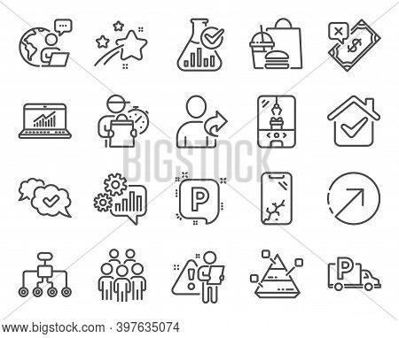 Business Icons Set. Included Icon As Crane Claw Machine, Pyramid Chart, Approved Signs. Rejected Pay