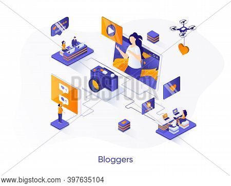 Bloggers Isometric Web Banner. Content Production For Social Media Isometry Concept. Online Video St