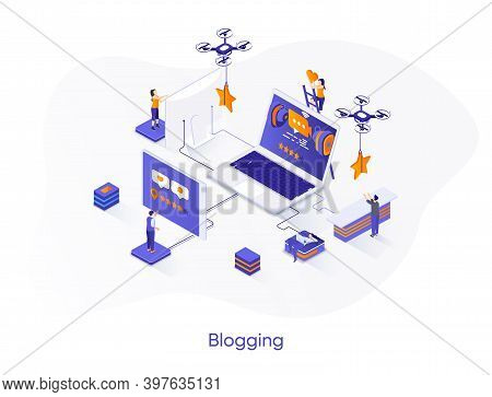 Blogging Isometric Web Banner. Multimedia Content Publishing Online Isometry Concept. Personal Video