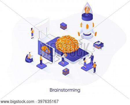 Brainstorming Isometric Web Banner. Innovative Idea Generation Isometry Concept. Teamwork Creativity