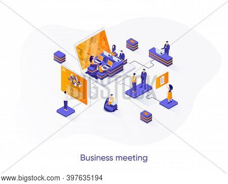 Business Meeting Isometric Web Banner. Teamwork Collaboration On Project Isometry Concept. Business