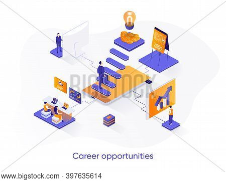 Career Opportunities Isometric Web Banner. Career Growth And Skills Development Isometry Concept. Pr