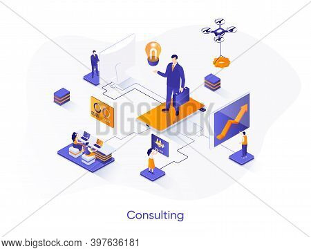 Consulting Isometric Web Banner. Competent Business Expertise And Law Assistance Isometry Concept. F