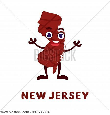 Cute Cartoon New Jersey State Character Clipart. Illustrated Map Of State Of New Jersey Of Usa With
