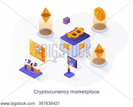 Cryptocurrency Marketplace Isometric Web Banner. Cryptocurrency Trading Platform Isometry Concept. O