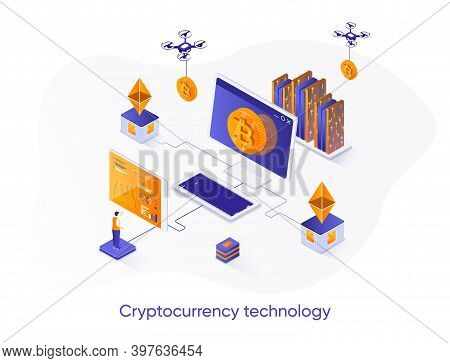 Cryptocurrency Technology Isometric Web Banner. Cryptography And Blockchain Fintech Solution Isometr