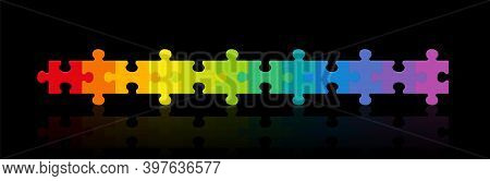 Jigsaw Puzzle Row, Rainbow Gradient Colored Puzzle Pieces, Twelve Different Colors In A Line. Isolat