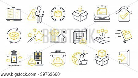 Set Of Industrial Icons, Such As Packing Boxes, Typewriter, Construction Building Symbols. Buildings
