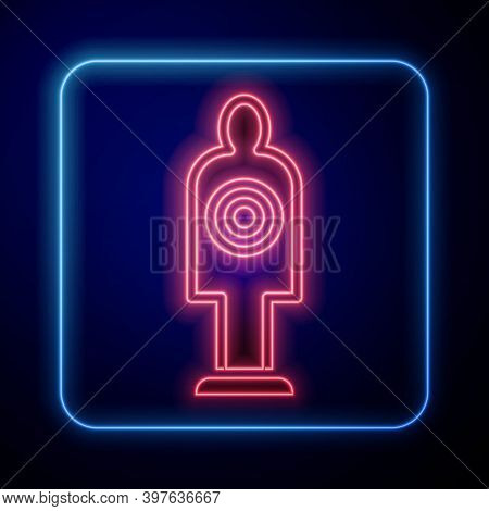 Glowing Neon Human Target Sport For Shooting Icon Isolated On Blue Background. Clean Target With Num