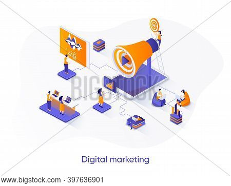 Digital Marketing Isometric Web Banner. Marketing Research Isometry Concept. Business Analytics And