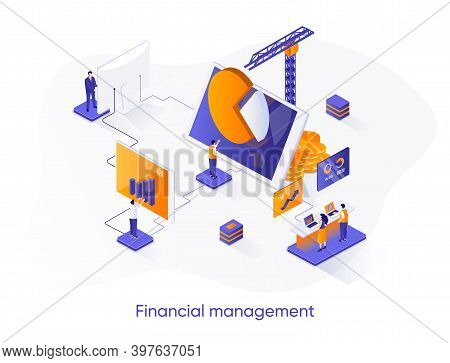 Financial Management Isometric Web Banner. Data Analysis And Strategy Planning Isometry Concept. Bus