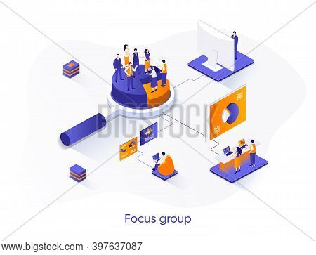 Focus Group Isometric Web Banner. Market Research Isometry Concept. Collective Discussion And Feedba