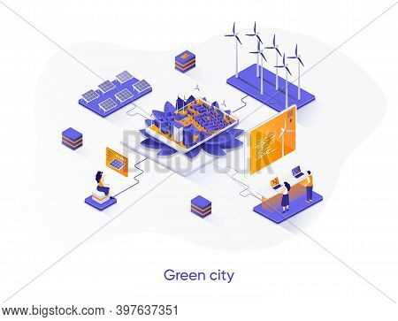 Green City Isometric Web Banner. Alternative Power Generation Isometry Concept. Solar Battery And Wi