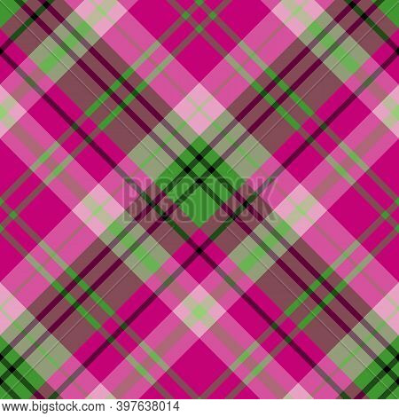 Seamless Pattern In Bright Pink And Green Colors For Plaid, Fabric, Textile, Clothes, Tablecloth And
