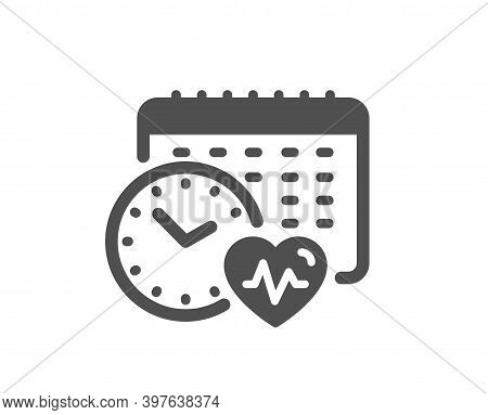 Cardio Training Calendar Icon. Fat Burning Time Sign. Gym Fit Heartbeat Symbol. Quality Design Eleme