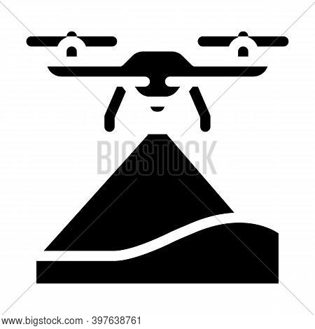 Drone Crawling Ground Glyph Icon Vector Illustration