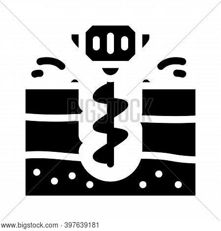 Earth Drilling Equipment Glyph Icon Vector Illustration