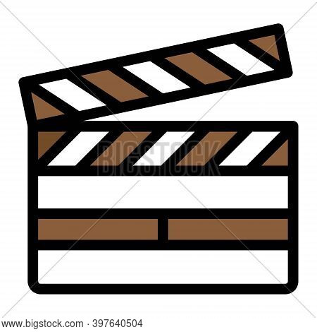 Movie Clapper Icon. Clapperboard, Clapboard Symbol. Film, Cinema, Director, Cinematography Signs. Fi