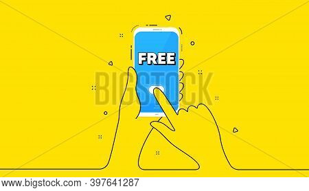 Free Symbol. Yellow Banner With Continuous Line. Hand Hold Phone. Special Offer Sign. Sale. Mobile P