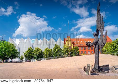 Szczecin, Poland, June 2019 Angle Of Freedom, A Memorial To The Victims Of December 1970 On Solidari