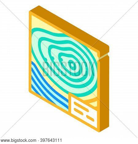 Topographic Map Isometric Icon Vector Illustration Color