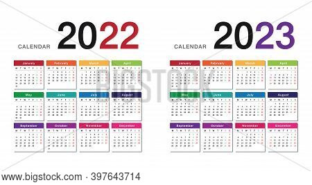 Colorful Year 2022 And Year 2023 Calendar Horizontal Vector Design Template, Simple And Clean Design