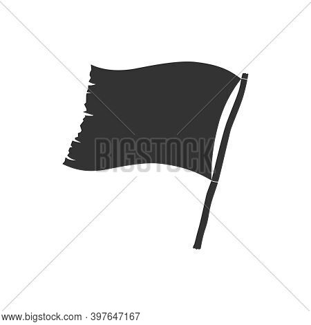 Flag Graphic Icon. Battered Flag Flat Sign Isolated On White Background. Vector Illustration