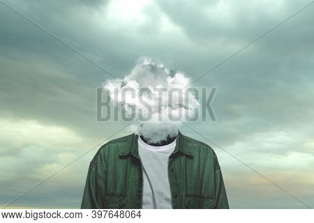 Thoughts. Male Body Of Model With Head Full Of Smoke About Sky And Clouds. Trendy Colours And Gradie