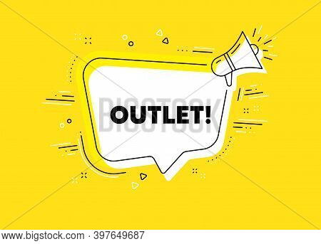 Outlet Symbol. Megaphone Yellow Vector Banner. Special Offer Price Sign. Advertising Discounts. Thou