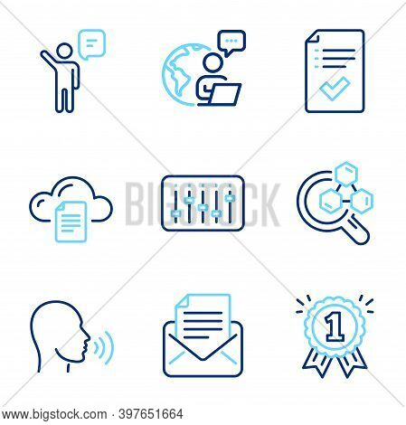 Education Icons Set. Included Icon As Agent, Approved Checklist, Human Sing Signs. File Storage, Rew