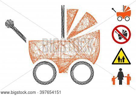 Vector Net Baby Carriage. Geometric Linear Carcass Flat Net Made From Baby Carriage Icon, Designed F