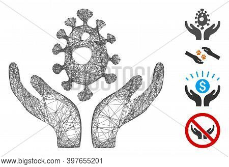 Vector Wire Frame Biotechnology Care Hands. Geometric Wire Frame 2d Net Made From Biotechnology Care