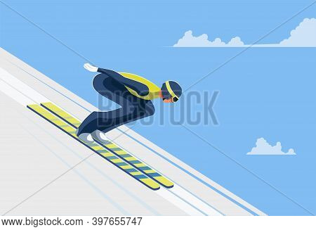 An Athlete In Sports Equipment Skies Down A Snow Ramp In Attempt To Jump. Skier Vector Flat Design I