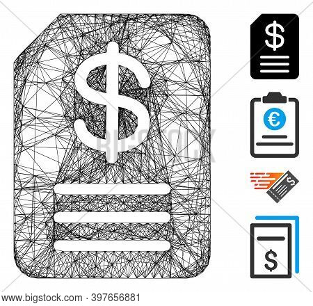 Vector Net Budget Invoice. Geometric Linear Carcass 2d Net Generated With Budget Invoice Icon, Desig