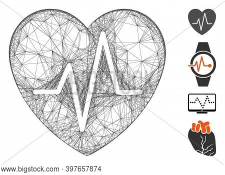 Vector Network Cardiology Heart Pulse. Geometric Linear Carcass Flat Network Made From Cardiology He