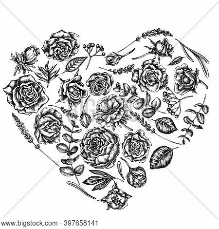 Heart Floral Design With Black And White Roses, Anemone, Eucalyptus, Lavender, Peony, Viburnum Stock