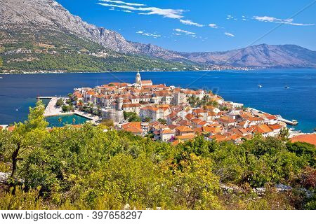 Historic Town Of Korcula Panoramic View, Island In Archipelago Of Southern Croatia