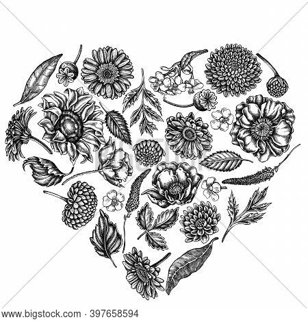 Heart Floral Design With Black And White Poppy Flower, Gerbera, Sunflower, Milkweed, Dahlia, Veronic