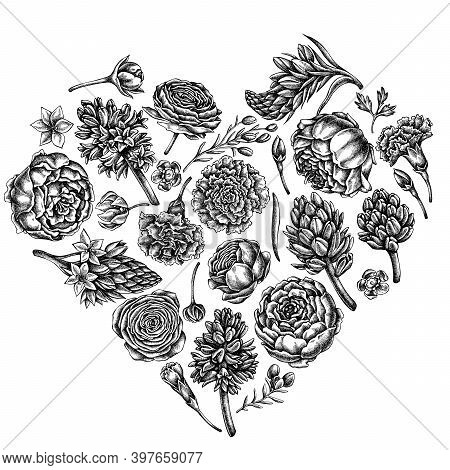 Heart Floral Design With Black And White Peony, Carnation, Ranunculus, Wax Flower, Ornithogalum, Hya