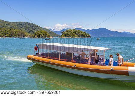 Boat Trip Abraão Beach Ilhas Do Macedo. Ilha Grande, Brazil.