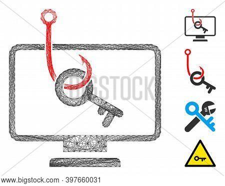 Vector Net Computer Key Phishing. Geometric Linear Carcass 2d Net Generated With Computer Key Phishi