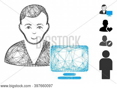 Vector Wire Frame Computer User. Geometric Wire Frame Flat Net Generated With Computer User Icon, De