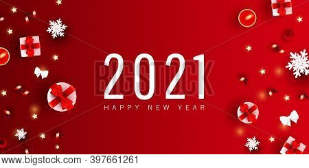 2021 Happy New Year And Merry Christmas Minimal Festive Banner. Xmas Gift Box, Love Shapes, Geometri
