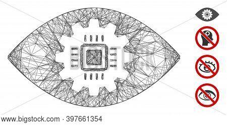 Vector Wire Frame Cyborg Eye Lens. Geometric Wire Frame 2d Net Made From Cyborg Eye Lens Icon, Desig