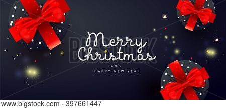 Fantasy Merry Christmas And Happy New Year Noel Banner With Decor Gift Box, On Dark Background For P