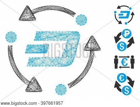 Vector Network Dash Turnover. Geometric Wire Carcass Flat Network Made From Dash Turnover Icon, Desi